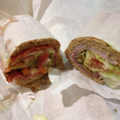 Potbelly's Sandwiches before take-off. The hot peppers are the best.