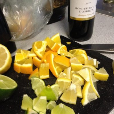 While the ribs were braising, we cut up some lemons, limes, apples, and oranges for sangria.