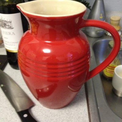 I also picked up this awesome Le Creuset pitcher so it was perfect for the sangria. We actually decided to make the sangria after we bought the pitcher....I just had to have this piece.