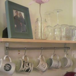 DIY Kitchen Shelf with Hook Rack