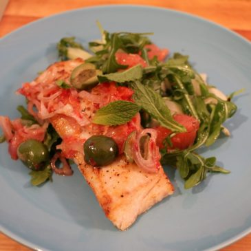 Plated Subscription Box Review: Seared Pollock with Blood Orange, Olives, and Grapefruit Salad