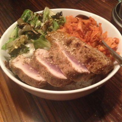 Albacore tuna, fennel kimchi and escarole rice bowl