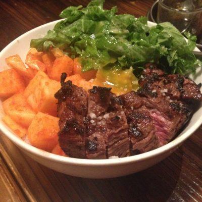 Short rib, sambal daikon and mustard green rice bowl