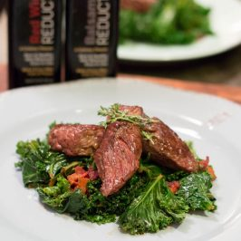 Reduction Ready Review: Red Wine Reduction Steak Tips with Balsamic Bacon Kale