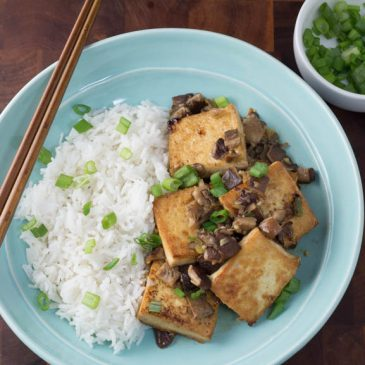 Plated Subscription Box Review: Spicy Mapo Tofu with Crispy Mushrooms, Scallions, and Rice
