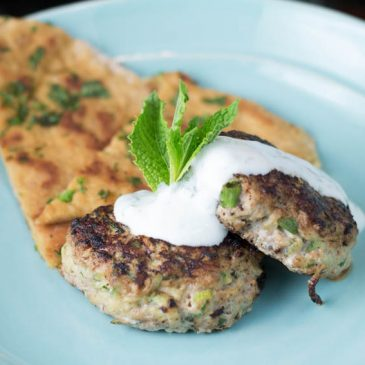 Turkey Zucchini Patties with Lemon Mint Yogurt Sauce